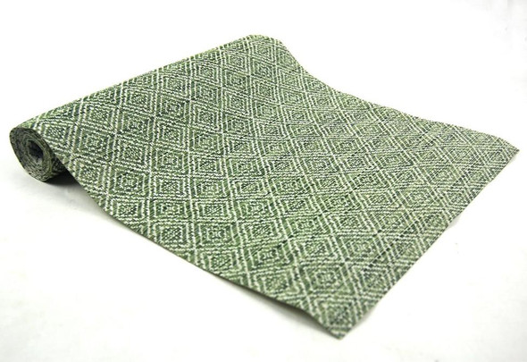 30X250CM GREEN DIAMOND DESIGN PVC TABLE RUNNER