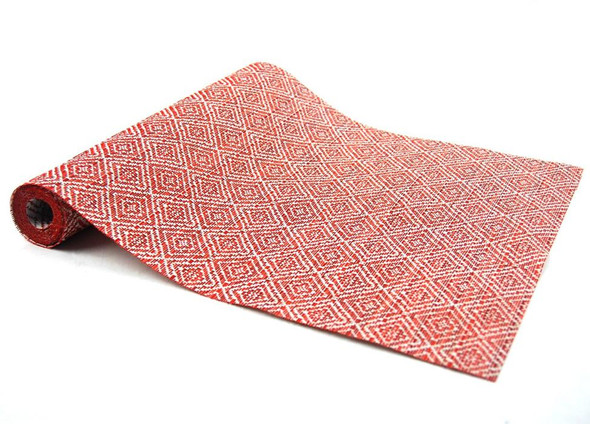 30X180CM RED DIAMOND DESIGN PVC TABLE RUNNER