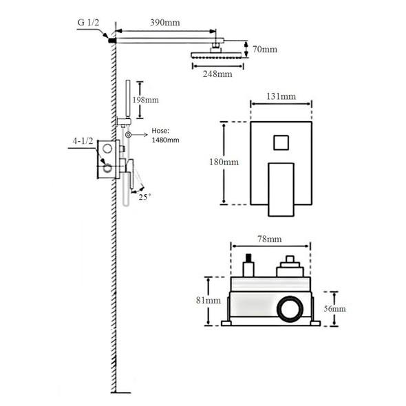 TEUER POHL SF-001B CNCLD BLK BATH MIX FCT
