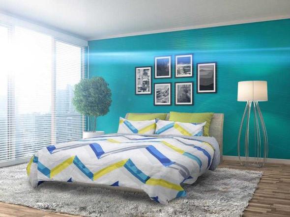 HOMETHREADS Bedsheet 3 Piece Set King Chevron Blue & Yellow
