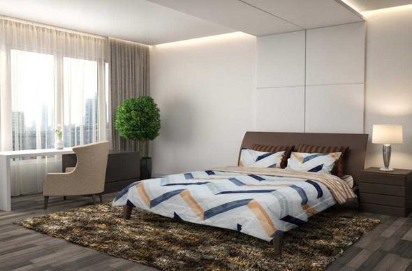 HOMETHREADS Bedsheet 3 Piece Set King Chevron Orange & Blue