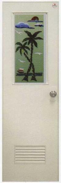 PVC Door & Jamb Set w/ Glass Design A45