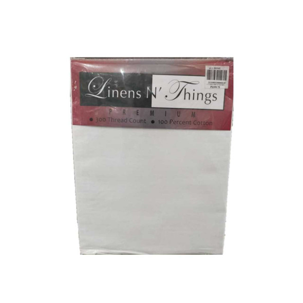 LINENS N' THINGS Bedsheet 4 Piece Set Cotton 300 Thread Count Queen White