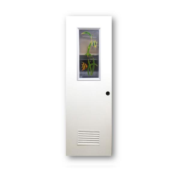 DREAMDOOR PVC Door & Jamb Set w/ Glass Design J007 60x210cm 35mm thick
