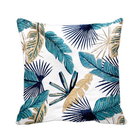 "S-9918-A 17""X17"" BLUE GREEN THICK CANVASS LEAVES THROW PILLOW CASE"