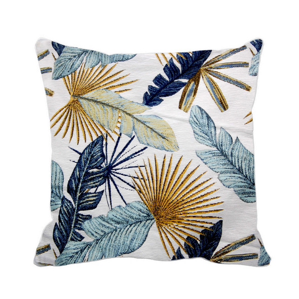 """S-9918-C 17""""X17"""" LT.BLUE THICK CANVASS LEAVES THROW PILLOW CASE"""