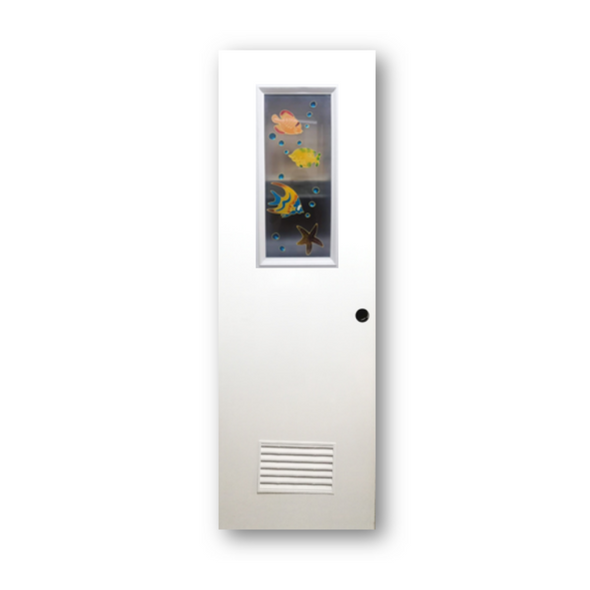 DREAMDOOR PVC Door & Jamb Set w/ Glass Design J007-2 60x210cm 35mm thick