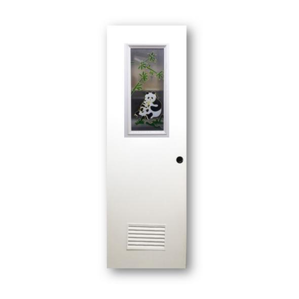 DREAMDOOR PVC Door & Jamb Set w/ Glass Design P001 60x210cm 35mm thick