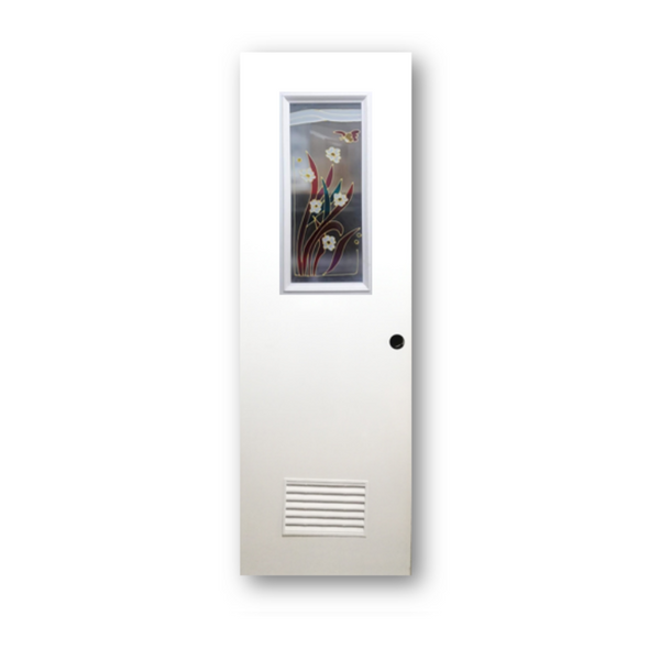 DREAMDOOR PVC Door & Jamb Set w/ Glass Design SH22 60x210cm 35mm thick