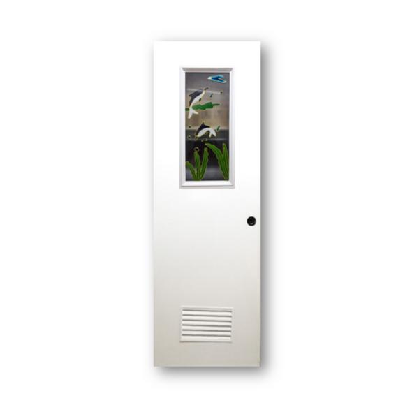 DREAMDOOR PVC Door & Jamb Set w/ Glass Design T279 60x210cm 35mm thick