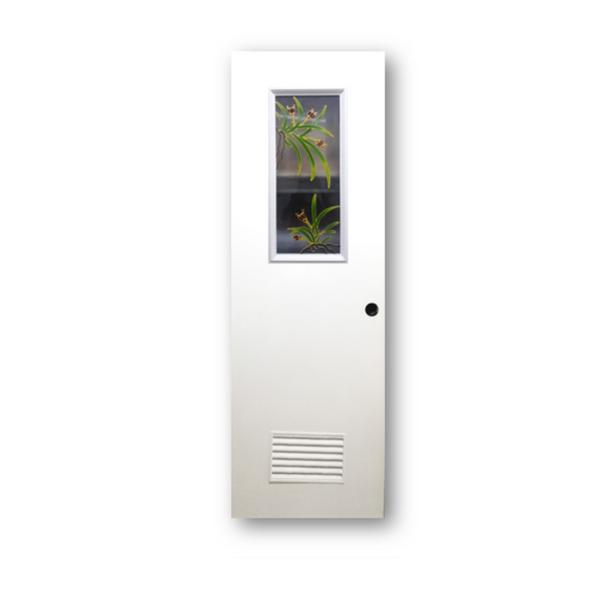DREAMDOOR PVC Door & Jamb Set w/ Glass Design T284 60x210cm 35mm thick