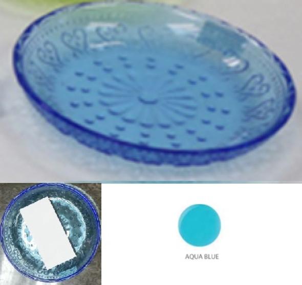 6IN VINTAGE ROUND PLATE AQUA BLUE