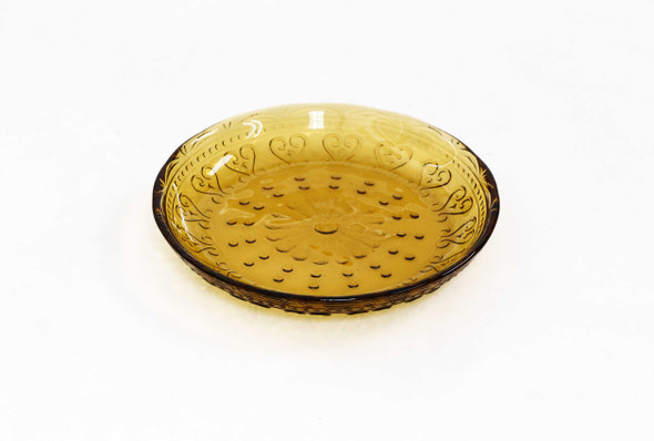 6IN VINTAGE ROUND PLATE AMBER