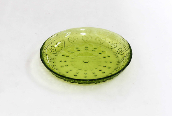 6IN VINTAGE ROUND PLATE LIME GREEN