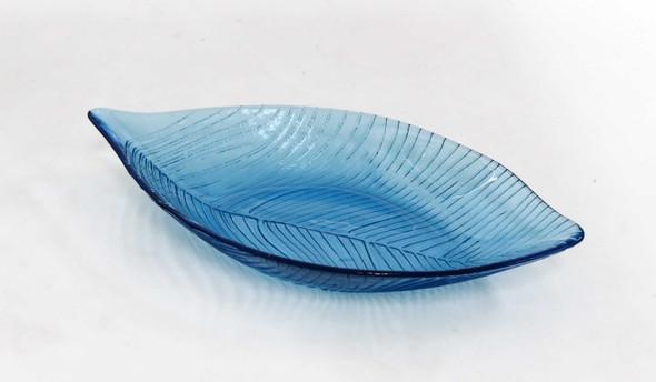 LEAF PLATE AQUA BLUE