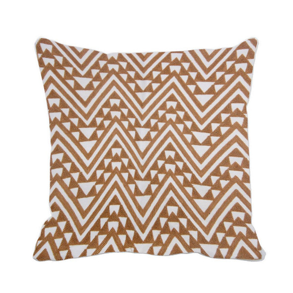 "17""X17"" BEIGE EMBRO ZIGZAG THROW PILLOW CASE"