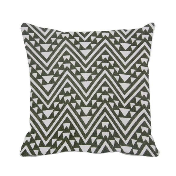 "17""X17"" GREEN EMBRO ZIGZAG THROW PILLOW CASE"