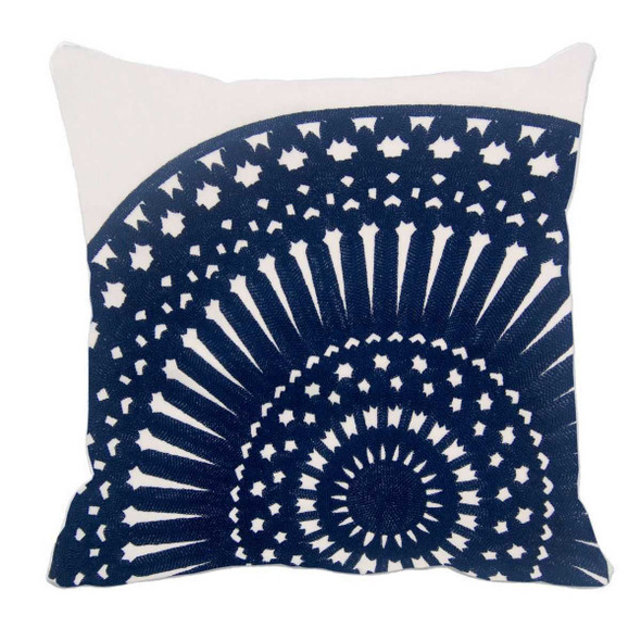 "17""X17"" NAVY BLUE EMBRO ROUND THROW PILLOW CASE"