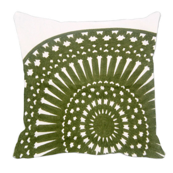 "17""X17"" GREEN EMBRO ROUND THROW PILLOW CASE"
