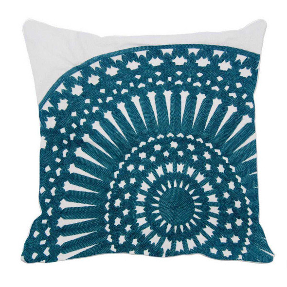 "17""X17"" TEAL EMBRO ROUND THROW PILLOW CASE"