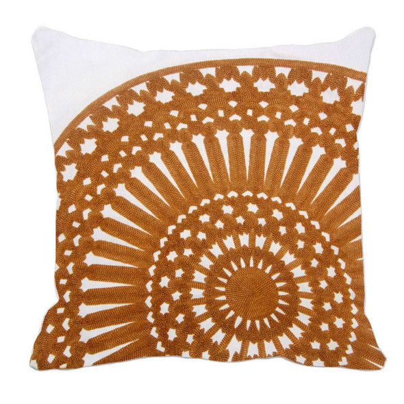"17""X17"" BEIGE EMBRO ROUND THROW PILLOW CASE"