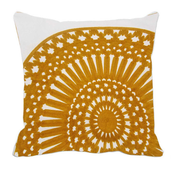 "17""X17"" YELLOW EMBRO ROUND THROW PILLOW CASE"