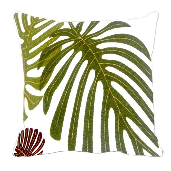 "17""X17"" GREEN MONSTERA W/ GOLD PIPING THROW PILLOW CASE"