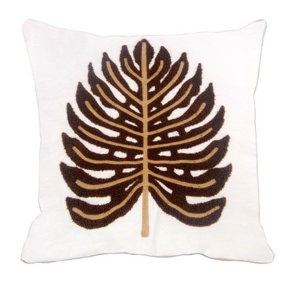 """17""""X17"""" BROWN EMBOSSED CANVASS 2TONE THROW PILLOW CASE"""