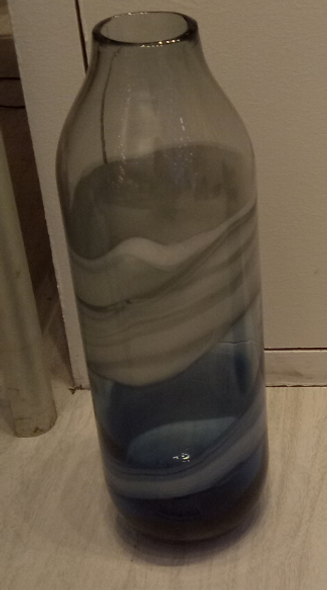 Glass Large with Gray & Blue Vase