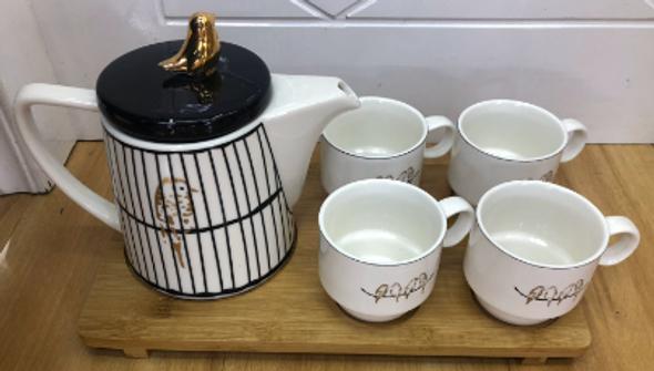 Tea Set Bird Design RHM1906-013 BLK/GLD/WHT