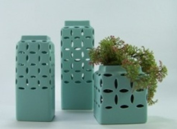 Ceramic Vase Square Mesh Design