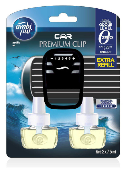 AMBIPUR CAR PREMIUM CLIP PACIFIC AIR 7.5ML VALUE PACK