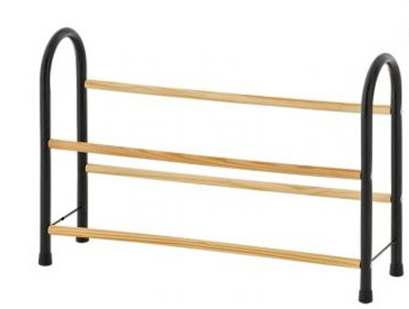 2-Tier Shoe Rack with Wood Grain