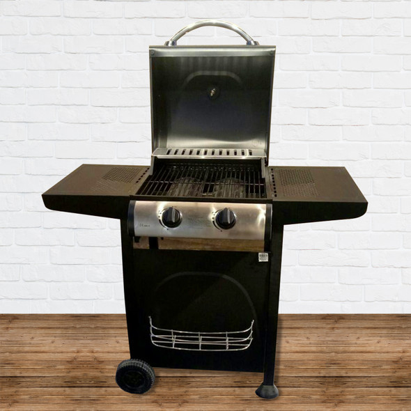 OUTDOOR LPG TYPE BBQ GRILL WITH SIDE TABLE