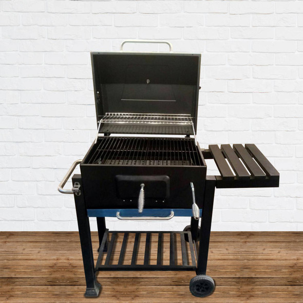 OUTDOOR CHARCOAL GRILL WITH SIDE TABLE