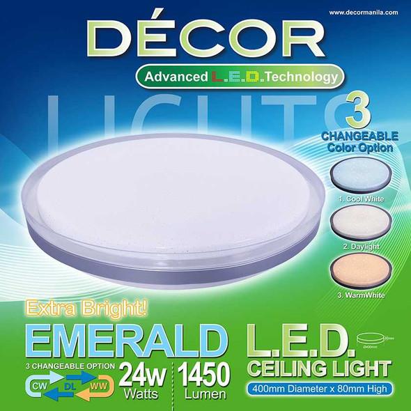 DECOR EMERALD CEILING LAMP 3 COLOR 24W
