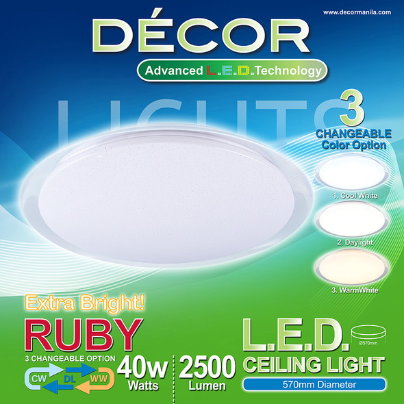 DECOR RUBY CEILING LAMP 3 COLOR 40W