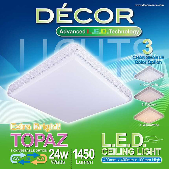 DECOR TOPAZ CEILING LAMP 3 COLOR 24W