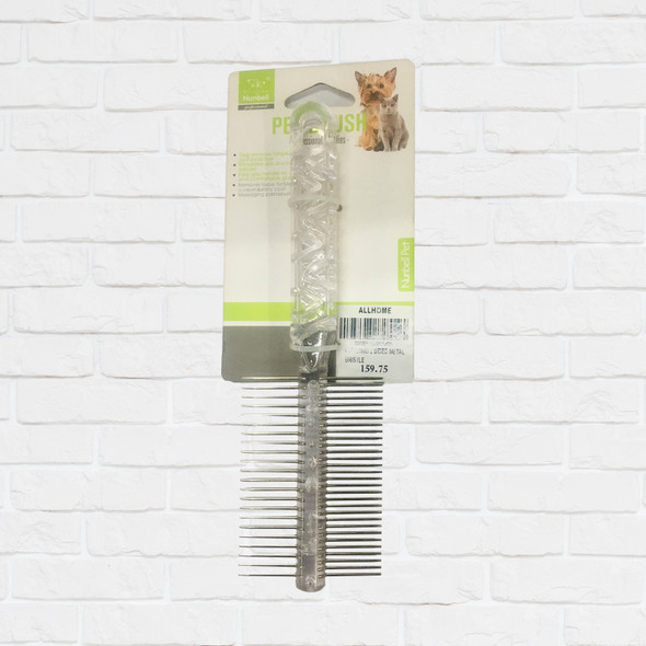 NUNBELL PET COMB 2 SIDED METAL BRISTLE