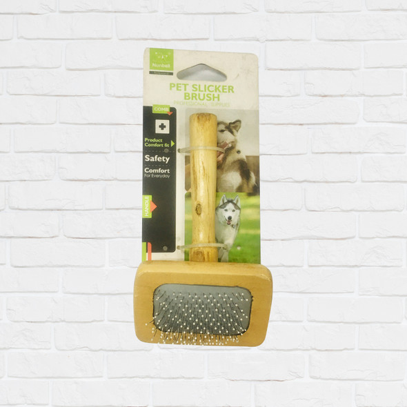 NUNBELL PET BRUSH RECTANGLE WOOD HANDLE SMALL