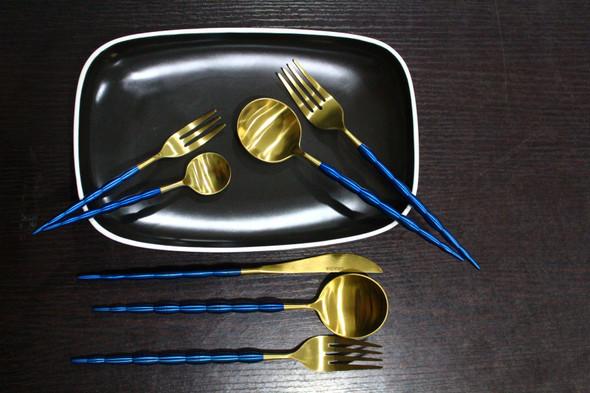 Onaida Gold Blue Chic Design Cutlery