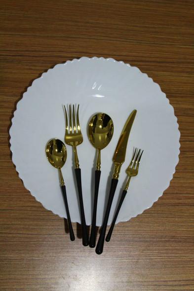 Onaida Gold Black Chic Design Cutlery