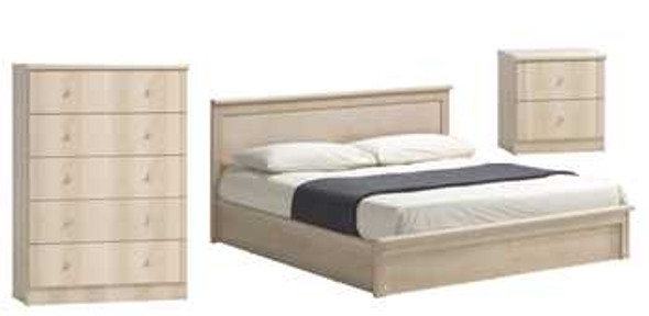 VERONA BEDROOM PACKAGE Inclusions:60x75 Bedframe1pc Night TableChest of 5 Drawers