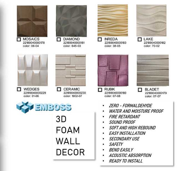 EMBOSS 3D Foam Wall Decor 60x60cm Bladet