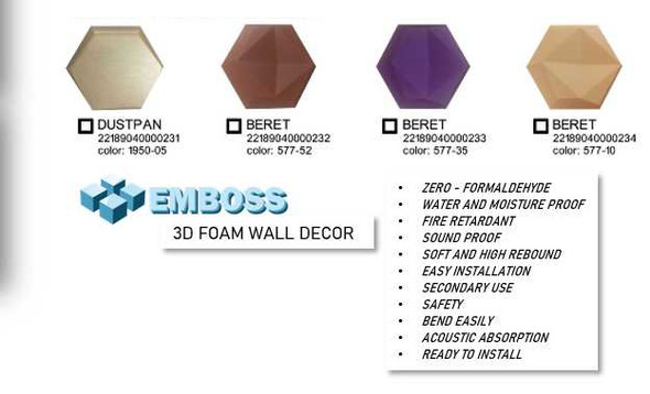 Emboss 3D Foam Wall Décor Hexagon
