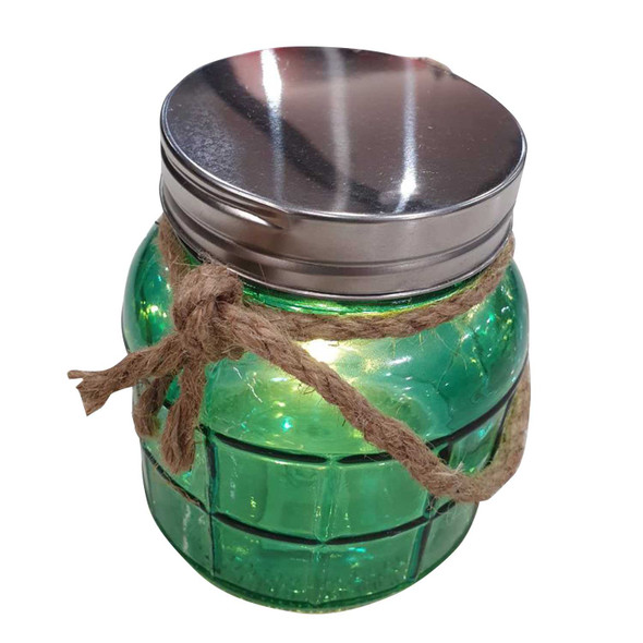 Decorative Glass Jar with Rope and Fairy Lights