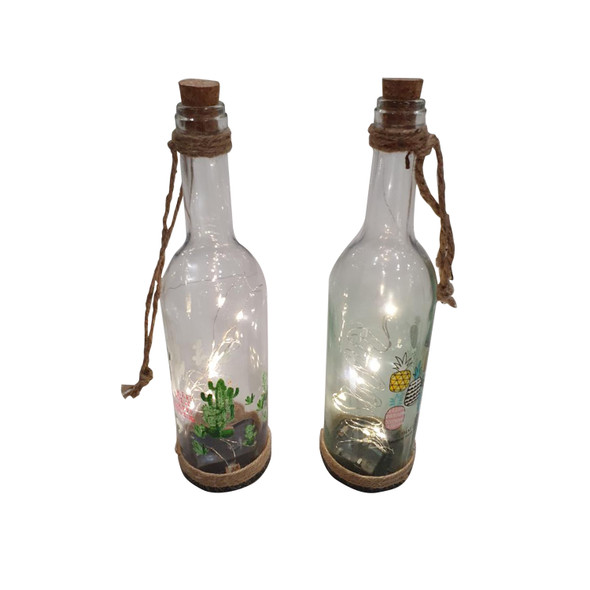 Decorative Bottle with Fairy Lights Cactus and Pineapple Design