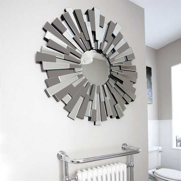 Decorative Grey Round Wall Mirror M398 80X80CM