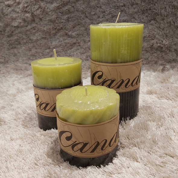 Scented Pillar Candle 2L Green Medium