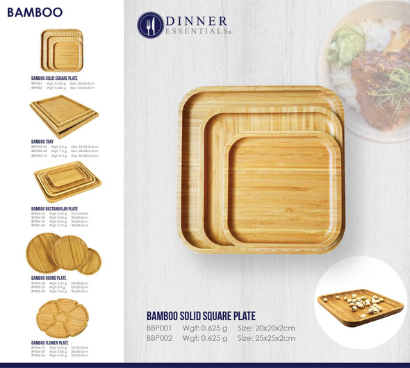 BBP001 BAMBOO SQUARE PLATE
